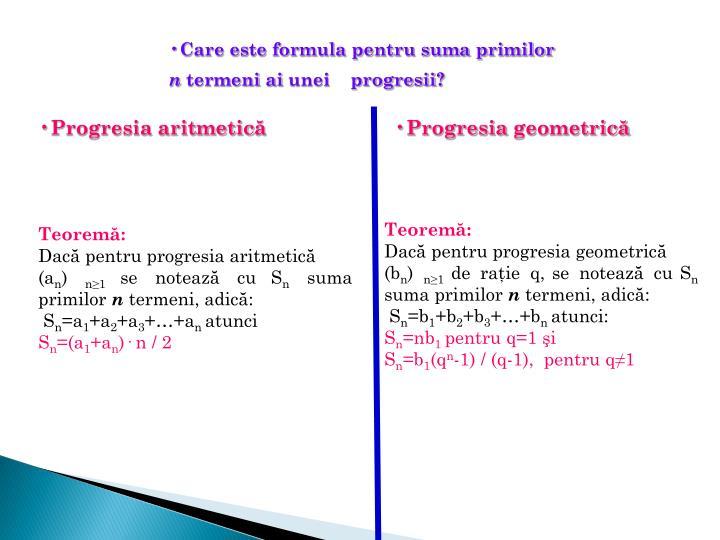 Care este formula pentru suma primilor