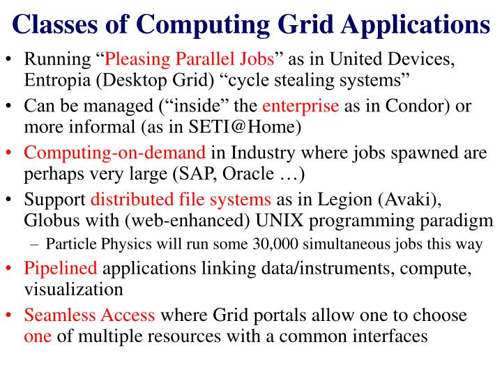 Classes of Computing Grid Applications