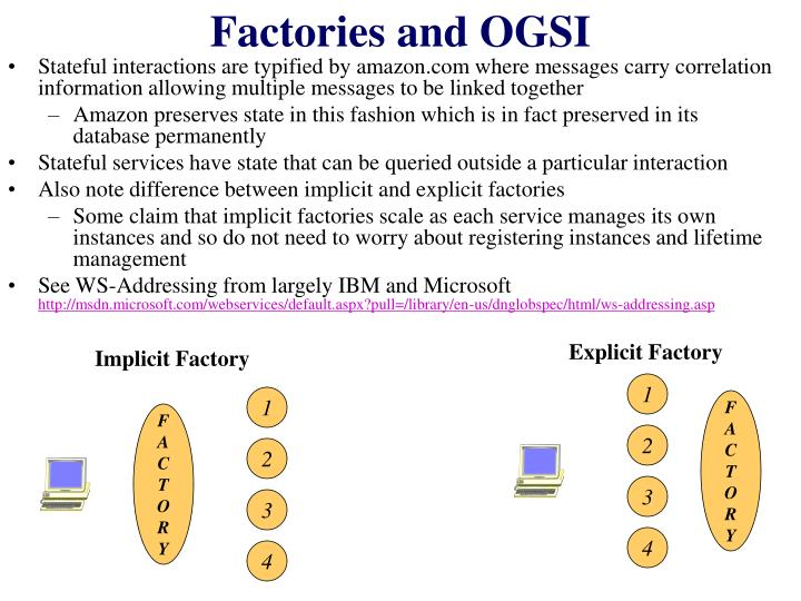Factories and OGSI