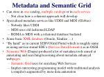 metadata and semantic grid