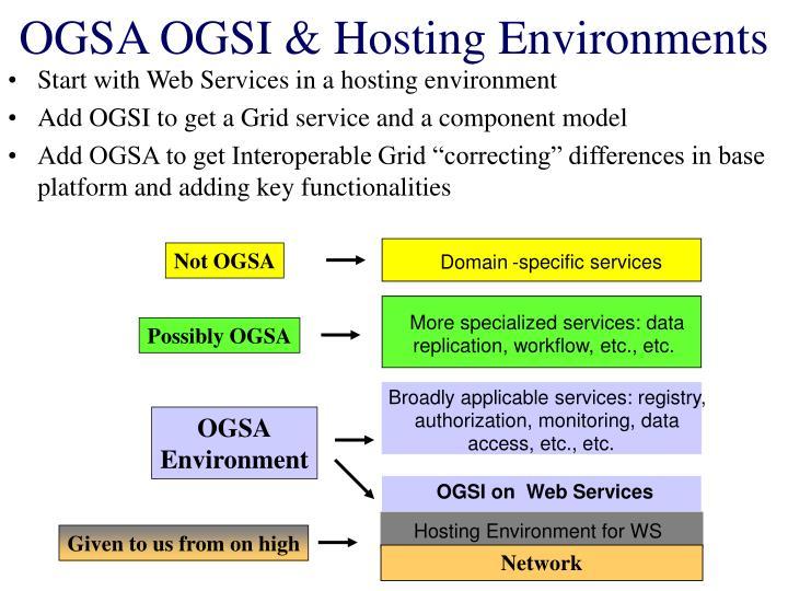 OGSA OGSI & Hosting Environments