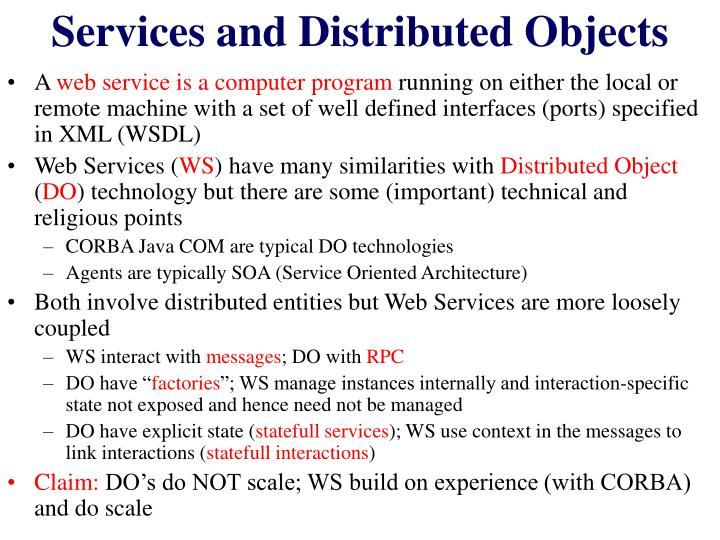 Services and Distributed Objects