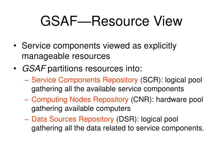 GSAF—Resource View