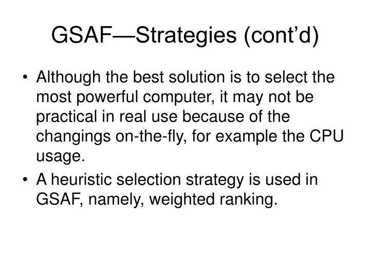 GSAF—Strategies (cont'd)