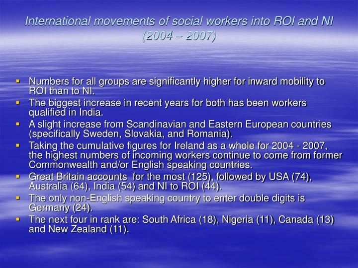 International movements of social workers into ROI and NI (2004 – 2007)