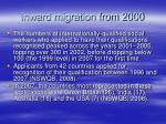 inward migration from 2000