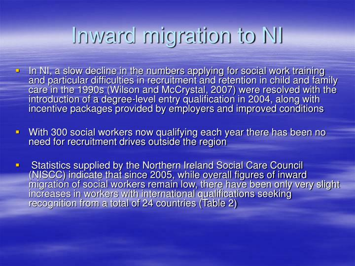 Inward migration to NI