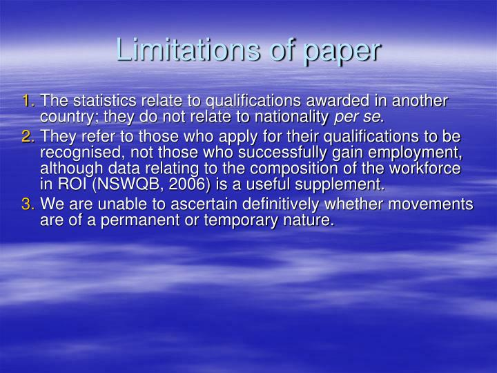 Limitations of paper