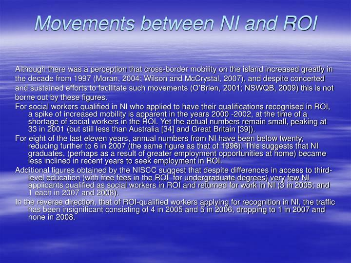 Movements between NI and ROI
