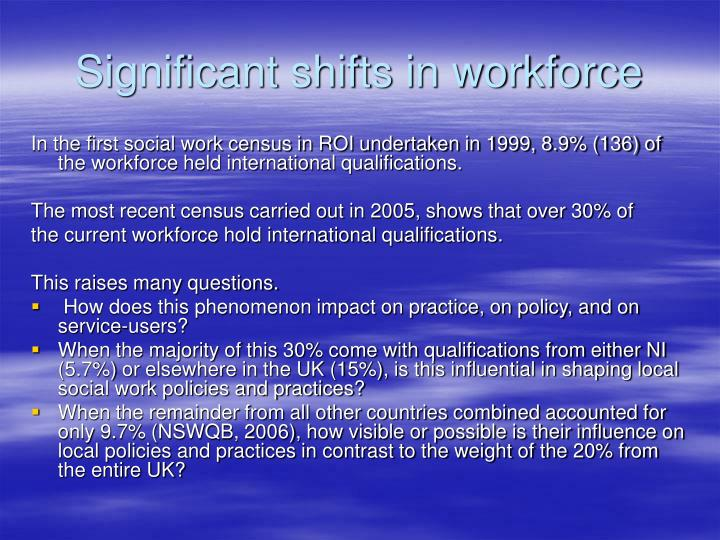 Significant shifts in workforce