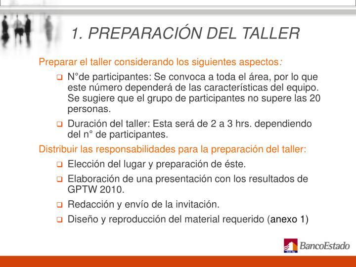 1. PREPARACIÓN DEL TALLER