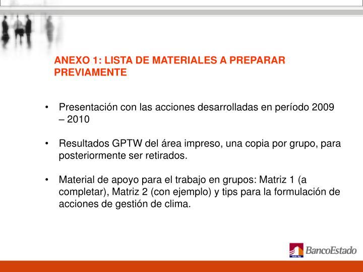 ANEXO 1: LISTA DE MATERIALES A PREPARAR PREVIAMENTE