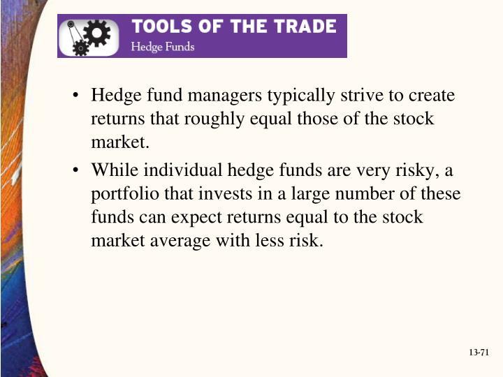 Hedge fund managers typically strive to create returns that roughly equal those of the stock market.