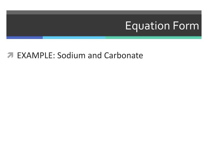 Equation Form