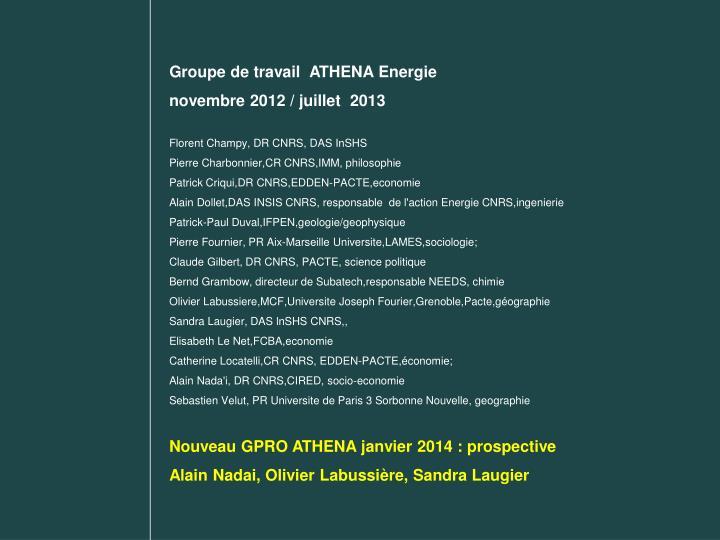 Groupe de travail  ATHENA Energie