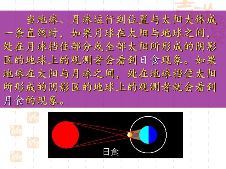 当地球、月球运行到位置与太阳大体成一条直线时,如果月球在太阳与地球之间,处在月球挡住部分或全部太阳所形成的阴影区的地球上的观测者会看到