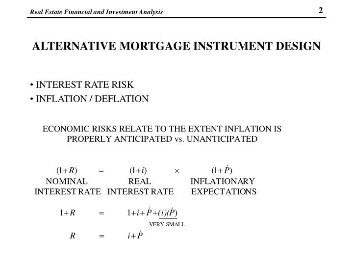 ALTERNATIVE MORTGAGE INSTRUMENT DESIGN