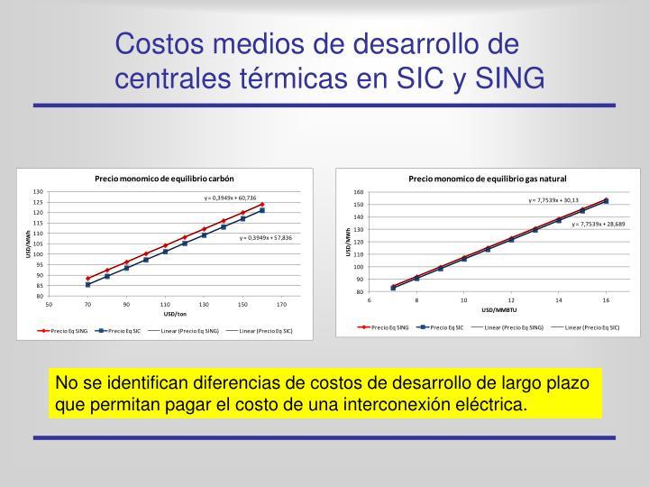 Costos medios de desarrollo de centrales térmicas en SIC y SING