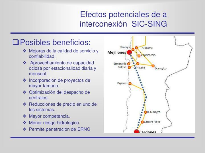 Efectos potenciales de a interconexión  SIC-SING