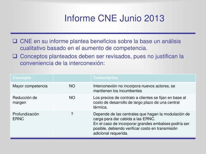 Informe CNE Junio 2013