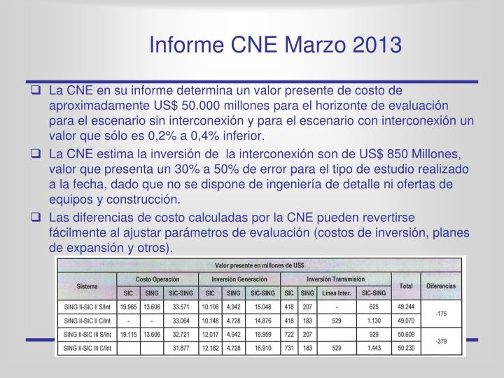 Informe CNE Marzo 2013