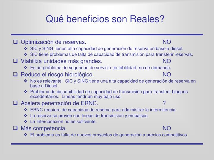 Qué beneficios son Reales?