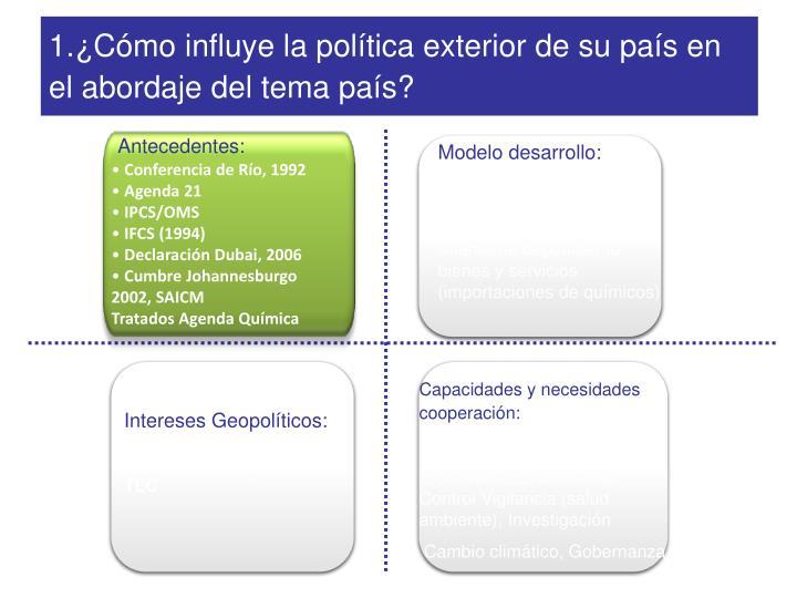 1.¿Cómo influye la política exterior de su país en el abordaje del tema país?