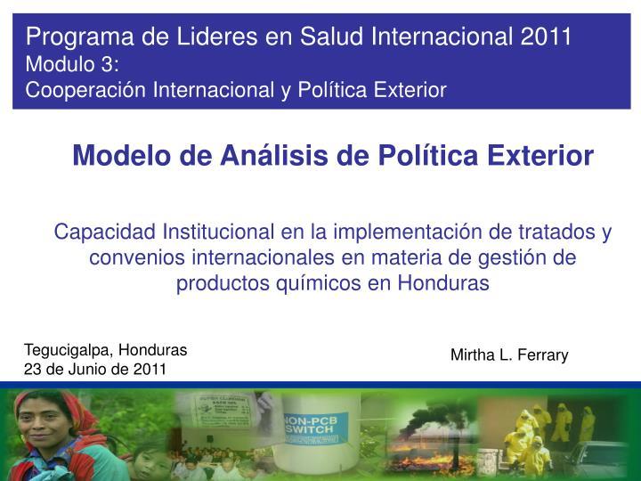 Programa de Lideres en Salud Internacional 2011