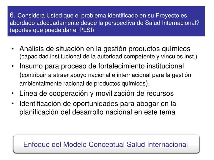 Enfoque del Modelo Conceptual Salud Internacional