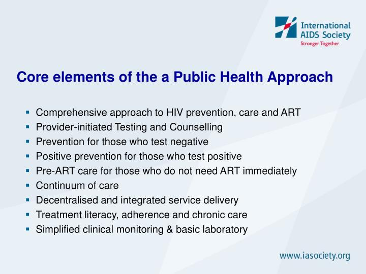 Core elements of the a Public Health Approach