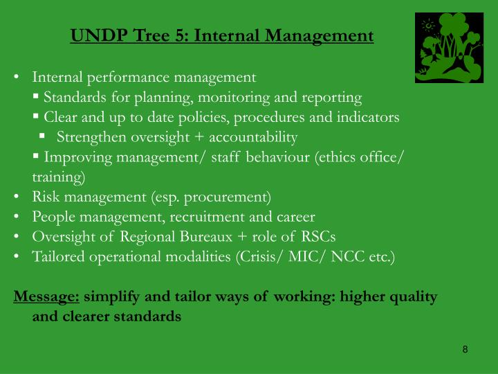 UNDP Tree 5: Internal Management