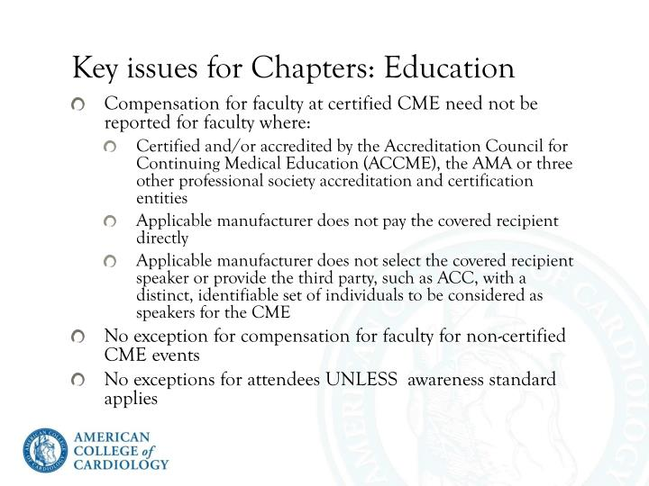 Key issues for Chapters: Education