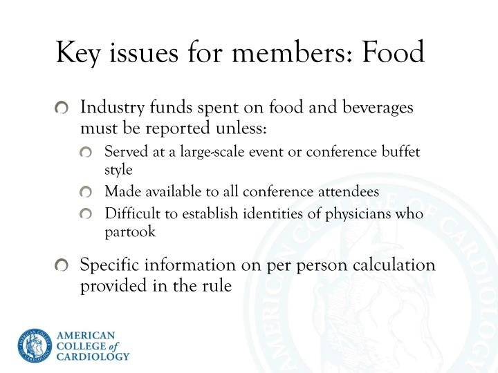 Key issues for members: Food