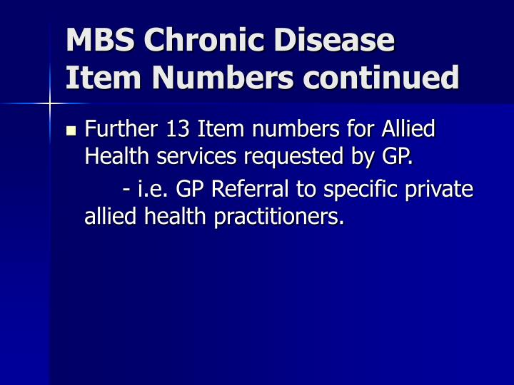 MBS Chronic Disease Item Numbers continued