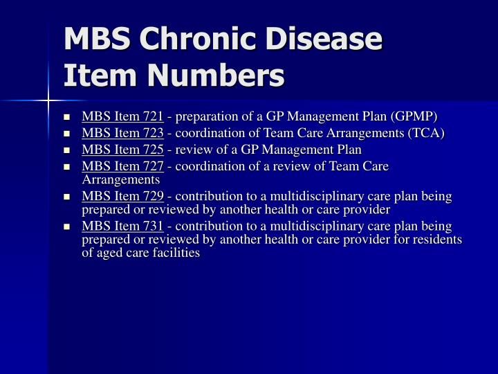 MBS Chronic Disease Item Numbers