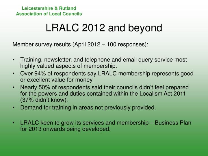 Member survey results (April 2012 – 100 responses):