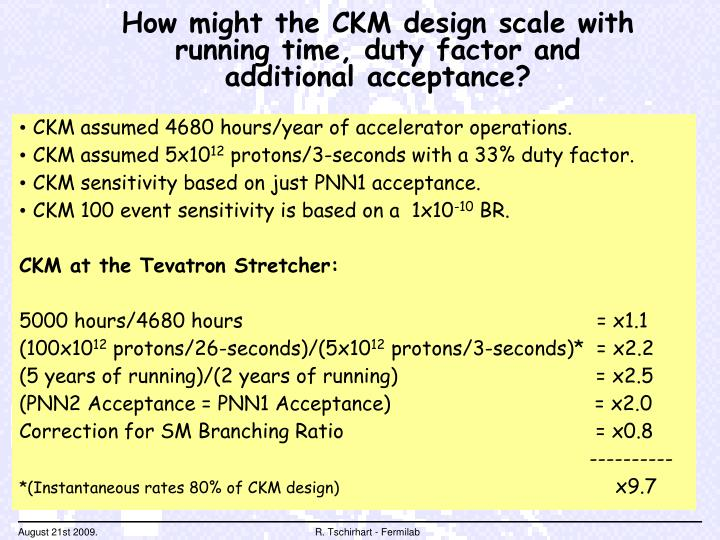 How might the CKM design scale with running time, duty factor and additional acceptance?