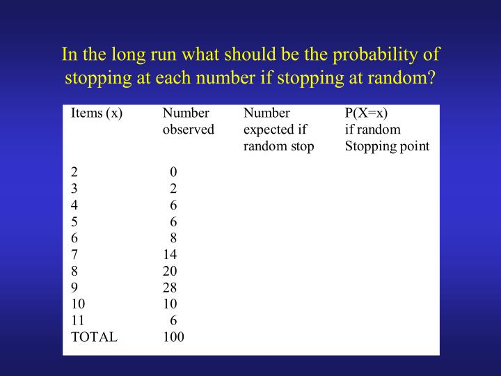 In the long run what should be the probability of stopping at each number if stopping at random?