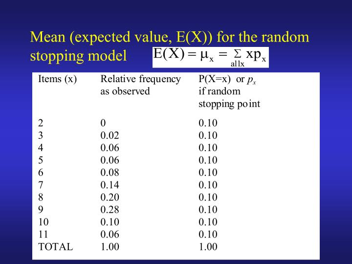 Mean (expected value, E(X)) for the random stopping model