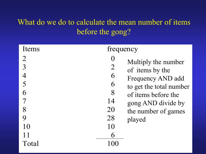 What do we do to calculate the mean number of items before the gong?