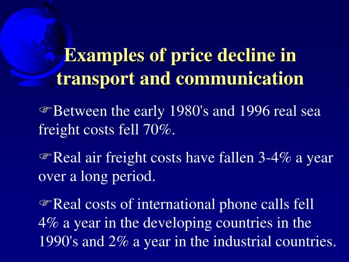 Examples of price decline in