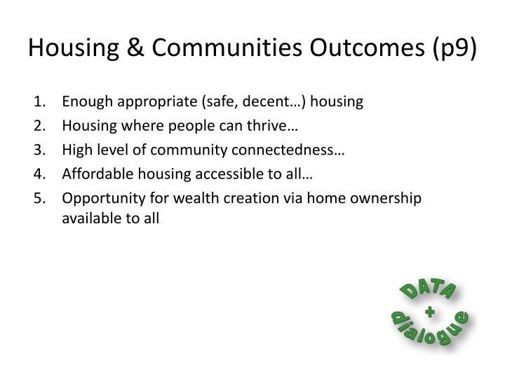 Housing & Communities Outcomes (p9)