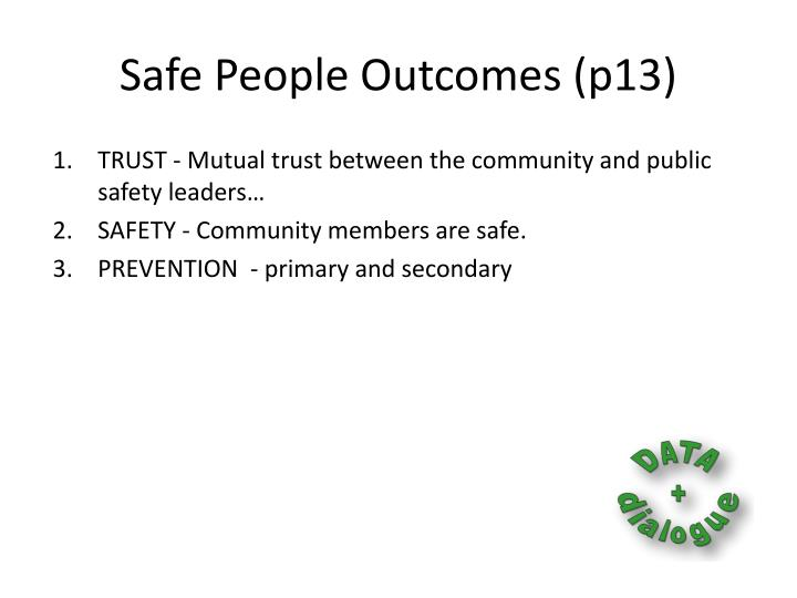 Safe People Outcomes (p13)