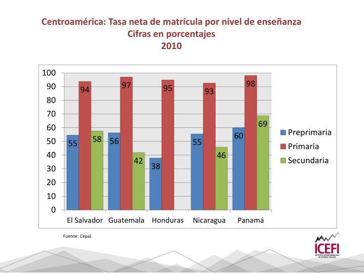 Centroamérica: Tasa neta de matrícula por nivel de enseñanza