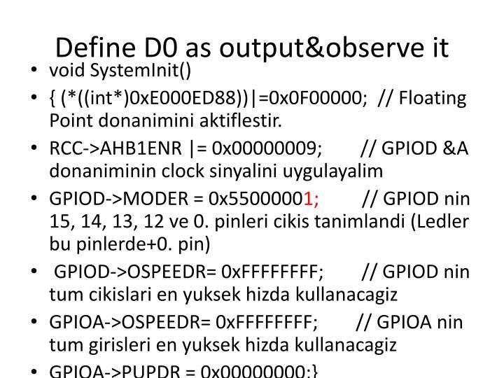 Define D0 as
