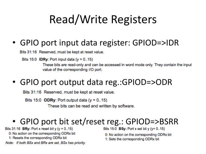 Read/Write Registers