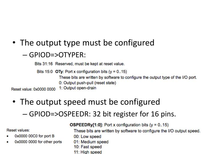 The output type must be configured