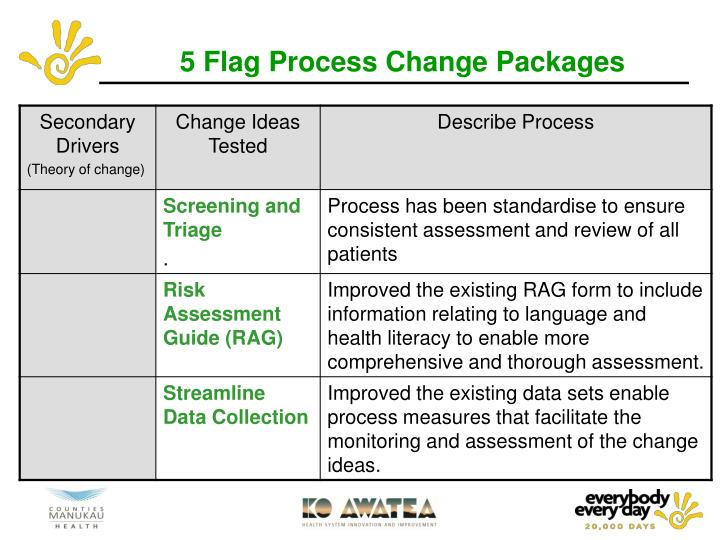 5 Flag Process Change Packages