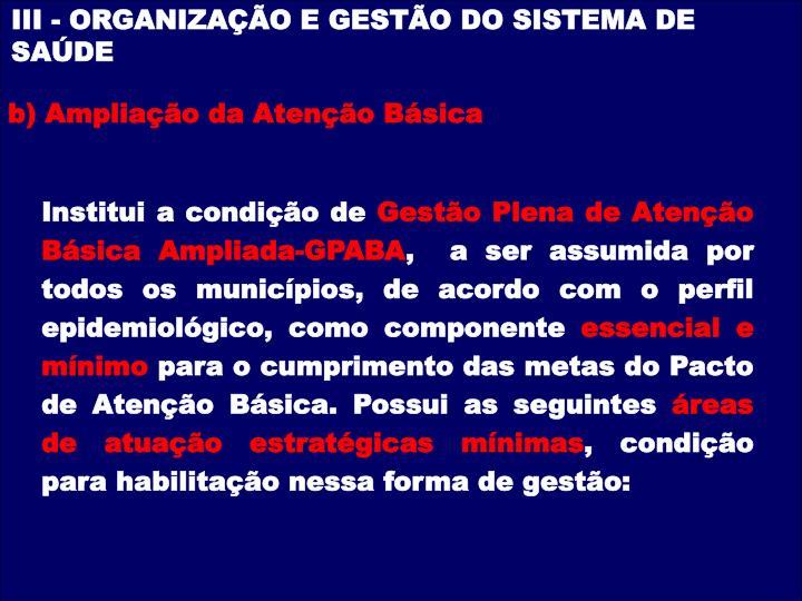 III - ORGANIZAÇÃO E GESTÃO DO SISTEMA DE SAÚDE
