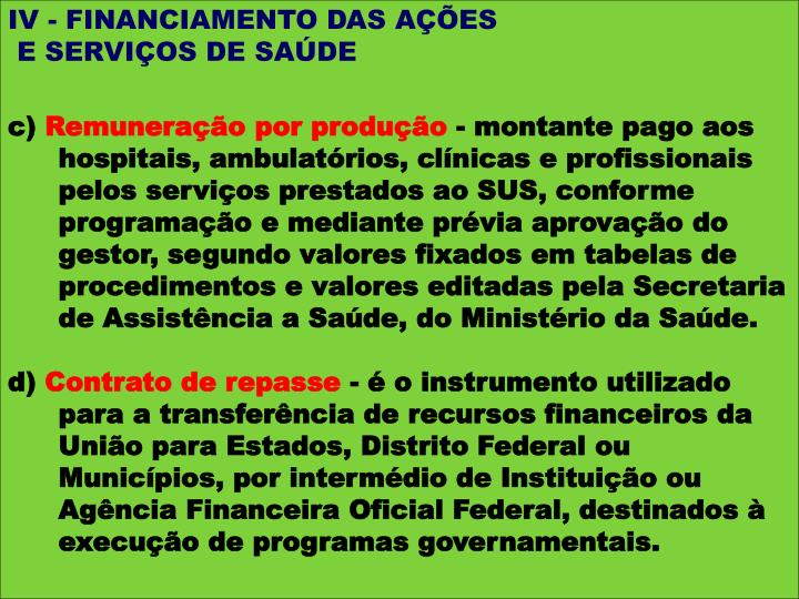 IV - FINANCIAMENTO DAS AÇÕES